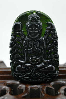 Fine China's natural nephrite carving black jade pendant Amulet Necklace 千手观音gua
