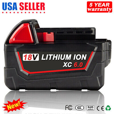 18V 6.0Ah Li-ion Battery for Milwaukee M18 48-11-1860 Extended XC 6.0 48-11-1850