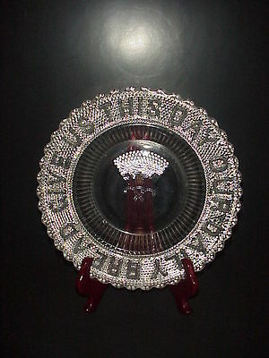 Give Us This Day Our Daily Bread Plate Dewdrop Early American Pressed Glass 1877