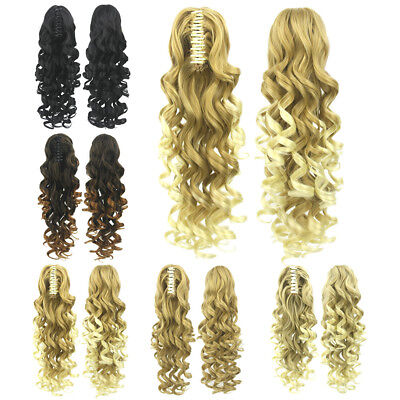 "24"" 5 colors women long curly ponytail hairpiece clip in hair extensions"