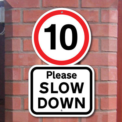 Please Slow Down, 10Mph Road Sign, Robust Road Safety Sign, Speed Limit Sign
