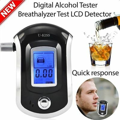 AT-6000 Portable Blowing Alcohol Tester Digital Detector Breathalyser Blue LCD U