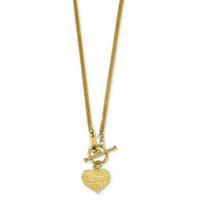 Ladies 14K Yellow Gold Heart Charm Pendant Toggle Flat Chain Necklace - 18 inch
