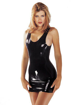 Sexy Mini Abito Scollato con Spalline Larghe 100% Vero Latex Lattice Fetish Nero