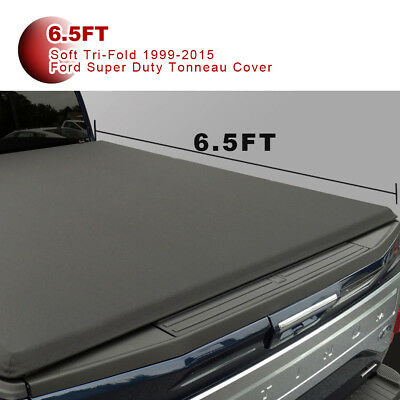 Leather Soft Tri-Fold Tonneau Cover Fit For 1999-2015 Ford Super Duty 6.5ft Bed