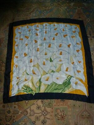 "Metropolitan Museum of Art 100% Silk Scarf ""CALLA LILIES"" 31"" by 29"" GORGEOUS"