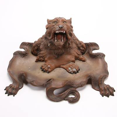 Stunning Large Victorian Metal Figural Lion Desk Tray with Inkwell