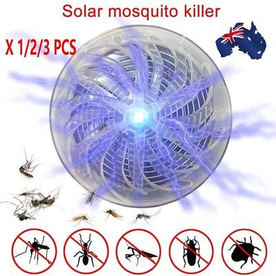 1/3X Solar Powered Buzz UV Lamp Light Fly Insect Bug Mosquito Kill Zapper KillJ7