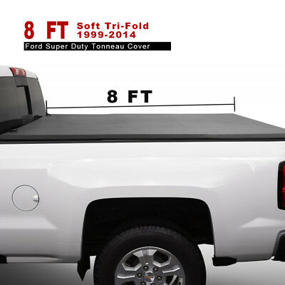 Leather Soft Tri-Fold Tonneau Cover Fits For 1999-2014 Ford Super Duty 8' Bed