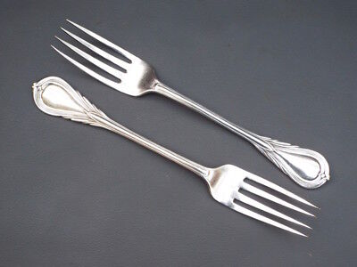Antique or vintage pair of silver plated serving forks - Lily pattern H monogram