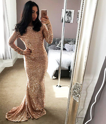 Ladies Maxi Ex Quiz Rose Gold Sequin Dress Backless Womans Low Back RRP £99.99❤
