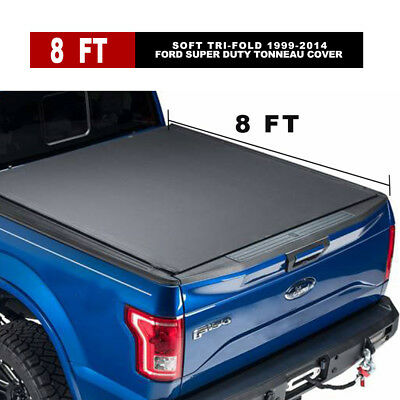Leather 8' Soft Tri-Fold Tonneau Cover Fits Ford Super Duty 99-14 Bed Cover