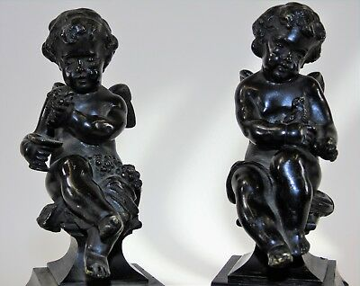 Pair of 19th Century Grand Tour Bronze and Marble Putti Ornaments