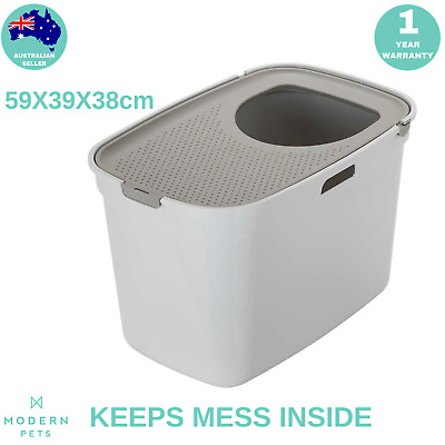 Top Entry Cat Litter Box Kitty Enclosed w/ Built-in Tracking Mat Extra Large