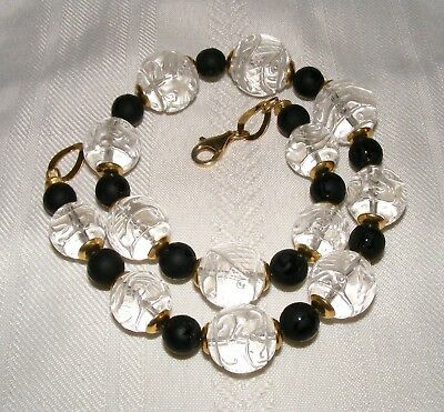 Amazing Hand Carved Rock Crystal and Onyx Chinese Symbol Bead Necklace