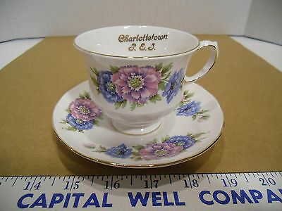 Queen Anne Bone China Prince Edward Island Floral Tea Cup & Saucer Set #8543 EUC