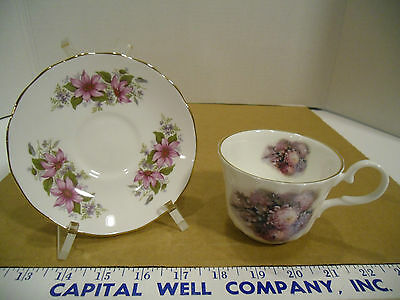 Argyle Bone China Purple Floral Tea Cup w/Queen Anne Mismatched Saucer - EUC