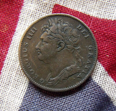 1822 George IV Copper Farthing Britiish Coins More pics in description.