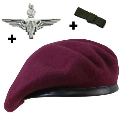 The Parachute Regiment Maroon Beret Set With Optional Cap Badge And Bow 55-60