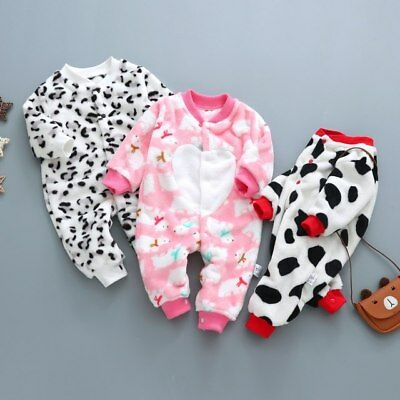 1pc baby newborn boys girls clothes soft warm fleece winter bodysuit jumpers
