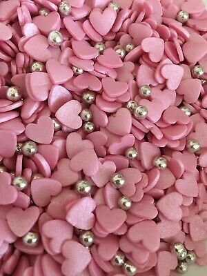 NOVELTY 100g edible pink glimmer hearts / silver balls sprinkles cake decoration