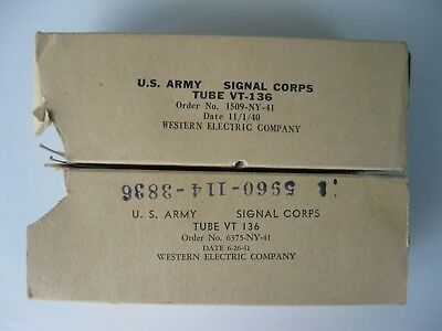 Vtg U.S. ARMY SIGNAL CORPS PAIR New Old Stock Western Elec. Vacuum Tubes VT-136