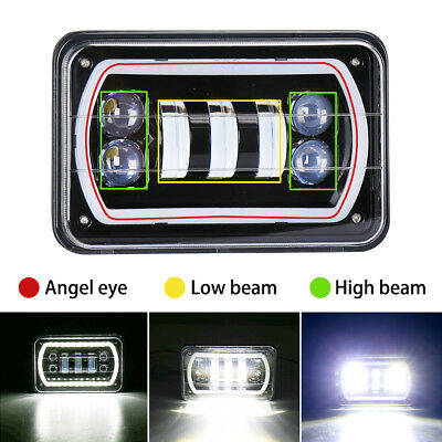 "1Pc  4""X6"" Rectangle LED Headlights Sealed Hi-Lo Beam Halo DRL Light Bulbs"