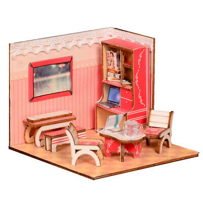1:24 Dollhouse Kit Miniature DIY Architecture Mini House Birthday Xmas Gifts