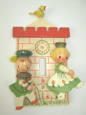 Vtg 1950 Hand Painted IRMI Nursery Plastics Wooden Baby Doll Light Switch Cover