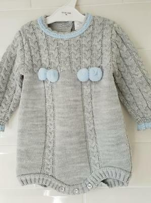 aa9c863b9 BABY GIRLS BOYS 2 Piece Knitted Spanish Outfit Pom Poms Grey Blue ...