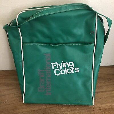 Braniff International Airlines Flying Colors Green Travel Bag Advertising