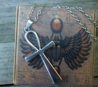Ankh Cross Pendant Necklace + Egyptian Box-  Amulet Ra Udjat Egypt Isis Osiris