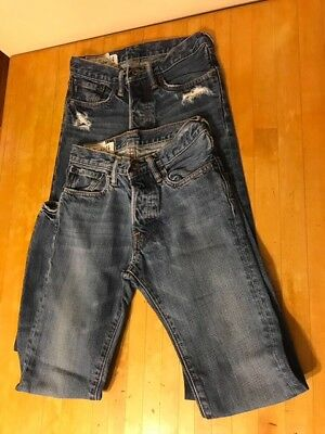 Lot of 2 Pairs of ABERCROMBIE & FITCH Skinny Jeans Boys Size 14x27 Slim Fit Blue