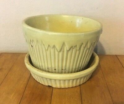 Antique/Vtg MORTON USA Yellow Ceramic Planter Pot Pottery w Attached Saucer/Tray