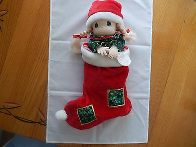 """1998 Precious Moments 15"""" Tall Qvc Christmas Eve Doll In Stocking!"""