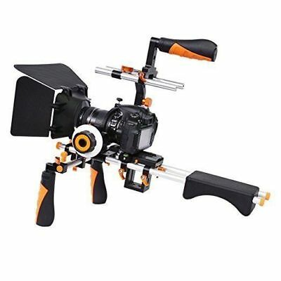 Video Camera Shoulder Rig Support with Matte Box Follow Focus for DSLR Camcorder
