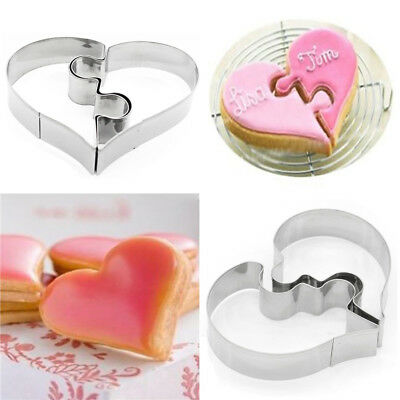 Heart Shape Cookie Cutter Baking Stainless Steel Embossing 3D Biscuit Fondant