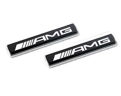 2Pcs Logo Emblema 3D Mercedes Benz Amg Edition Metallo Nero Adesivo Stemma Badge