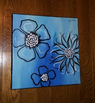 "10x10"" Abstract Flowers Painting On Canvas Black White Blue Teal Art"
