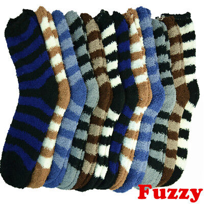 Lot 3-10 Pairs For Mens Soft Cozy Fuzzy Winter Home Solid Striped Slipper Socks