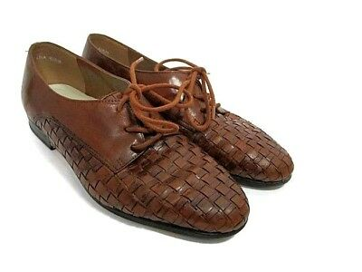 1ca9e311b95 Trotters Brown Woven Leather Lila lace up shoes 6.5 basket weave Oxford  flats