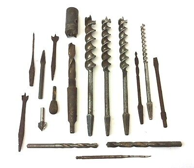Mixed Antique & Vintage Lot Used Steel Iron Metal Russell Jennings Drill Bits