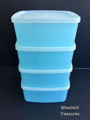 Set Of 4 Vtg Tupperware Lunchboxes Storage Boxes Pastel Blue- Good Condition