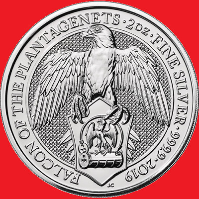 2019 2oz Silver Queen's Beasts The Falcon Bullion Coin in COIN CAPSULE