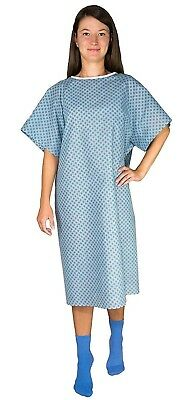 12 Pack Blue Hospital Gown with Back Tie/Hospital Patient Robes with Ties