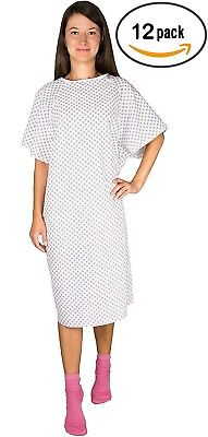 12 Pack - White Hospital Gown with Back Tie / Hospital Patient Robe with Ties