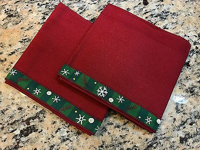 Longaberger Pottery Holiday Bluster Snowflake Paprika Novelty Napkins (2) New