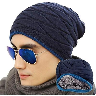 Men's Skullies & Beanies Soft Lined Thick Knit Cap Warm Winter Slouchy Hat(One