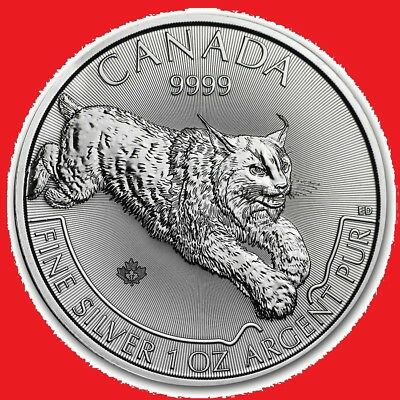 2017 1oz Silver Canadian Lynx (Predator Series) in coin capsule (2nd quality)