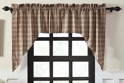 Country Farmhouse Window Swag Charcoal Gray & Tan Plaid Cotton Lined Sawyer Mill